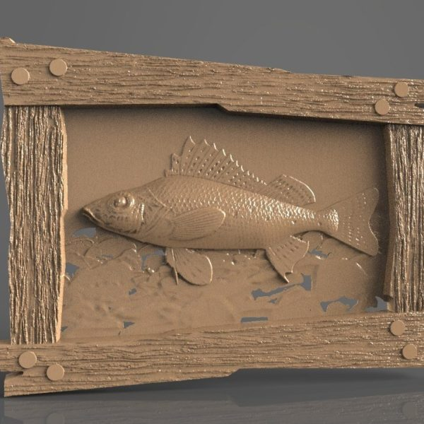 fish in rustic frame cnc file model