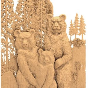 bears 3d stl model for cnc router or 3d printer