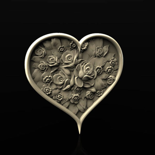 Heart Rosespanno decor stl model