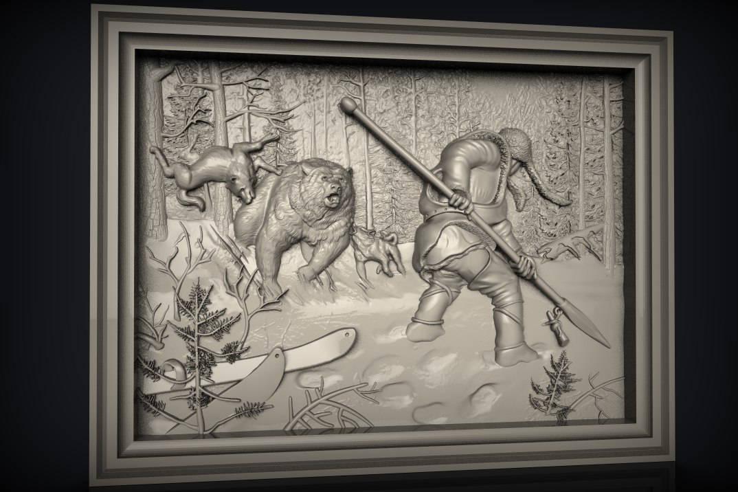 2 3D STL Model Hunting Bear Panel CNC Router Carving Machine Artcam aspire Cut3D