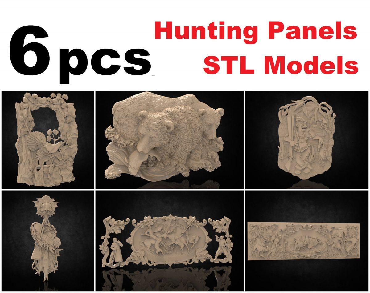 6pcs cnc file model hunting them