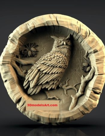 Owl in a Log 3D STL Model rend