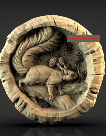Squirrel in a Log 3D STL Model file