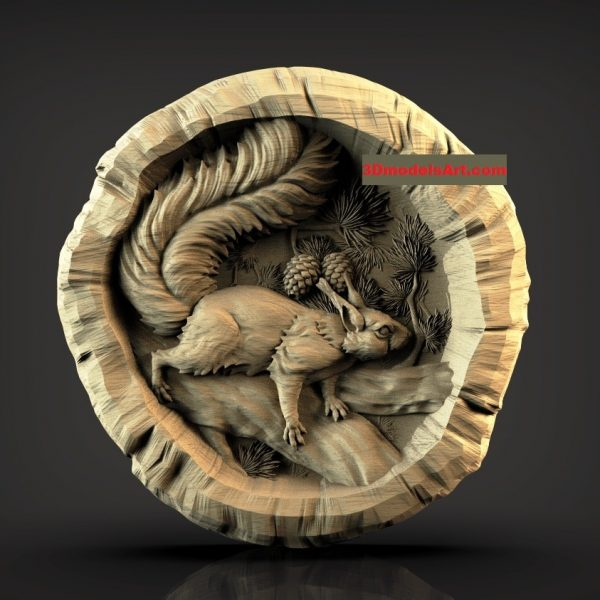 Squirrel in a Log 3D STL Model file