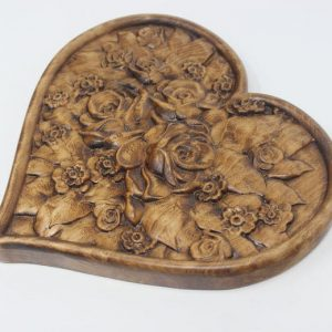 Rose Heart Wood Carved Wall Hanging