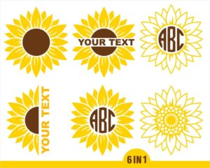 6 Sunflower Bundle pack in SVG, PNG, EPS files