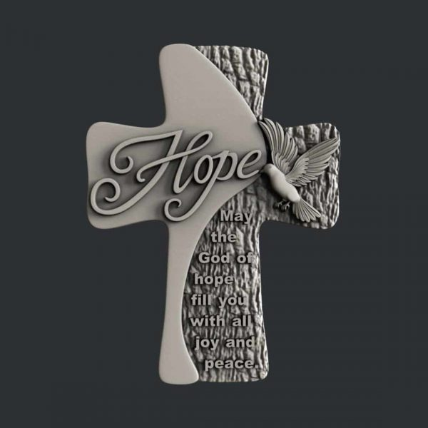 Hope Cross 3D STL Model for CNC Router or 3D Printer