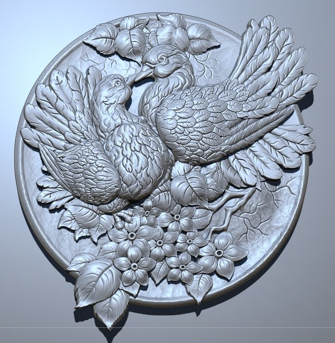 Pigeons in Love 3D STL Model for CNC Router or 3D Printing