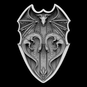 Shield with Dragons 3d stl file