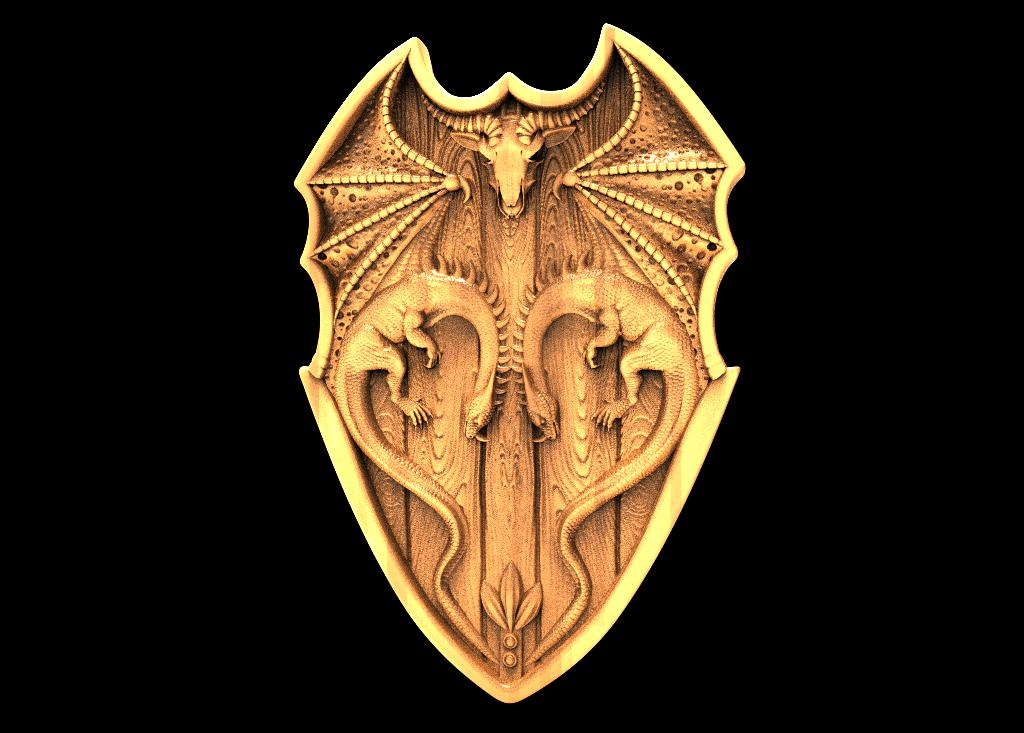 Shield with Dragons stl file