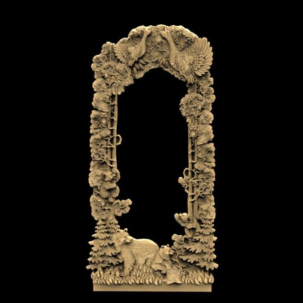 Frame with wood Grouses and Bears stl file