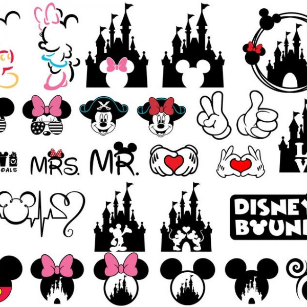 Mickey Mouse SVG Minnie Mouse SVG Disney Castle SVG Vector Files