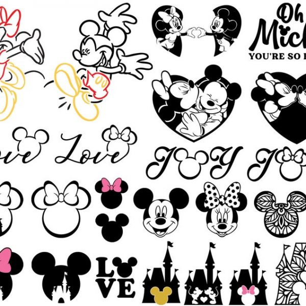 Mickey Mouse SVG Minnie Mouse SVG Mickey Head Mickey Love SVG Vector Files