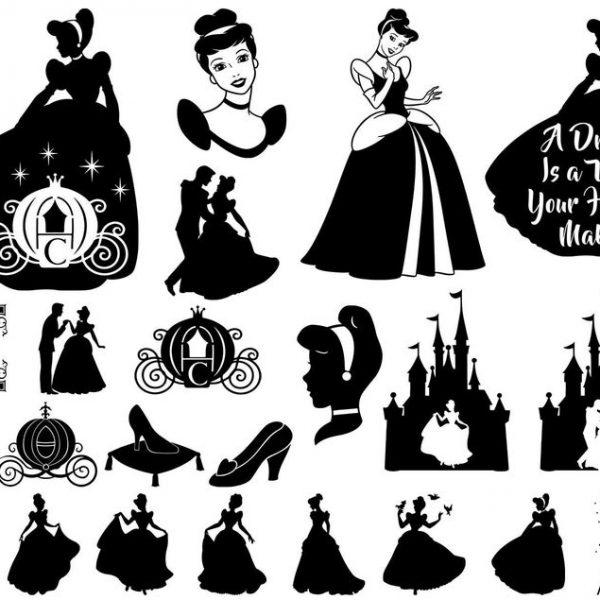 Cinderella SVG, Princess SVG, Disney Princess, Castle, Svg Files for Cricut, Vector, Silhouette, Cut File, Png, Eps, Dxf