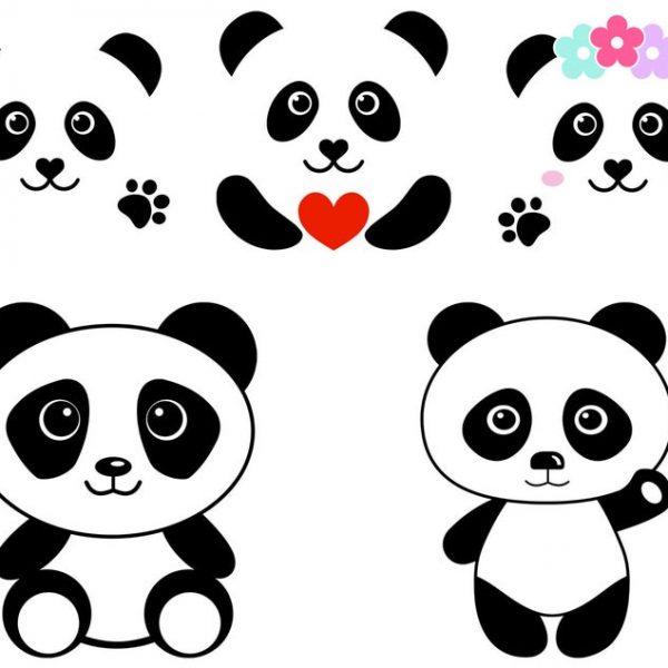 Panda SVG Panda Face SVG File Cute Panda Head Clipart Vector Files
