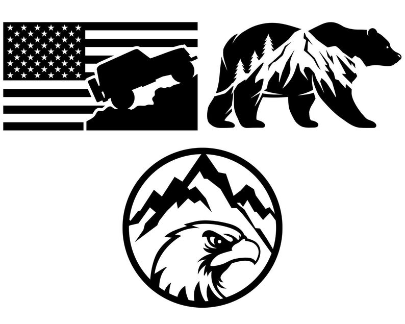 Mountain SVG Adventure American Flag SVG Outdoor SVG Vector Files