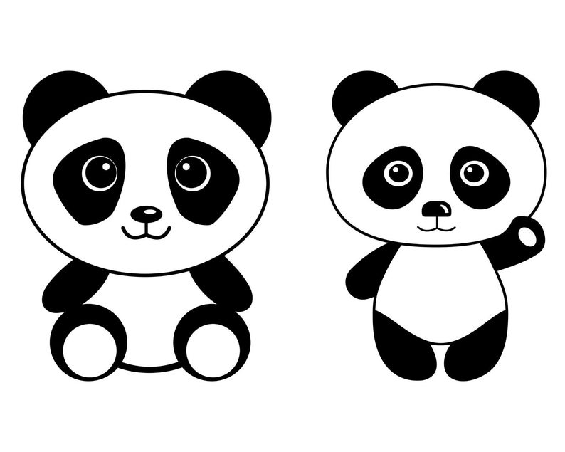 Panda SVG, Panda Face SVG File, Cute Panda Head, Clipart, Vector, Silhouette, For Cricut, Cut File, Png, Eps, Pdf, Dxf, Layered SVG File
