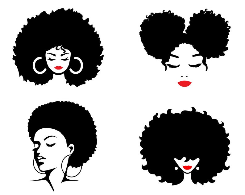 Afro Woman SVG, Afro Girl Svg, Afro Queen Svg, Afro Lady Svg, Curly Hair Svg, Black Woman, For Cricut, For Silhouette, Cut Files, Dxf, Png