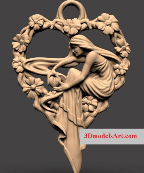 Heart Girl 3D STL Necklace Model