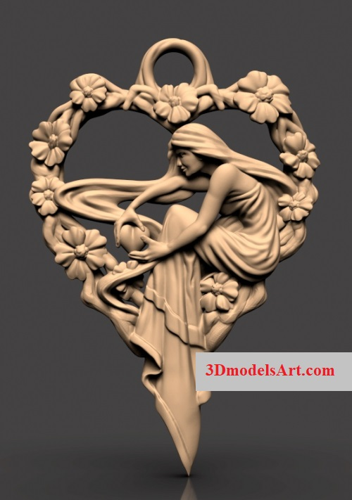 Heart Girl 3D STL Necklace Model