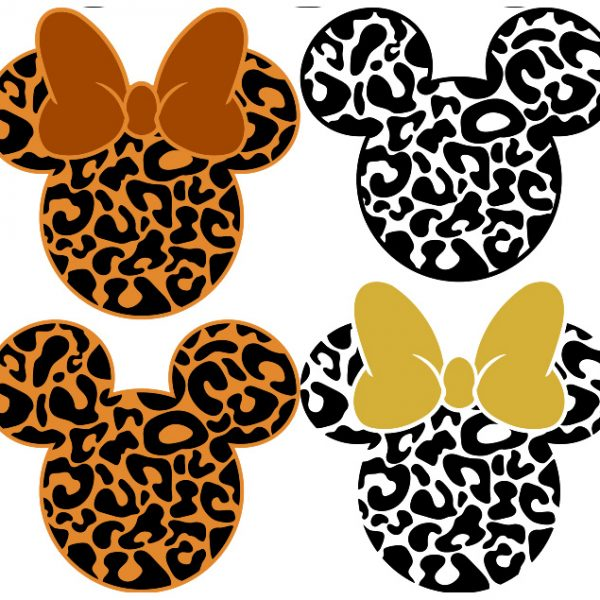 Mickey Leopard SVG, Mickey Cheetach SVG, Mickey Flower SVG, Mickey Outline, Minnie Svg, For Cricut, For Silhouette, Cut File, Dxf, Png