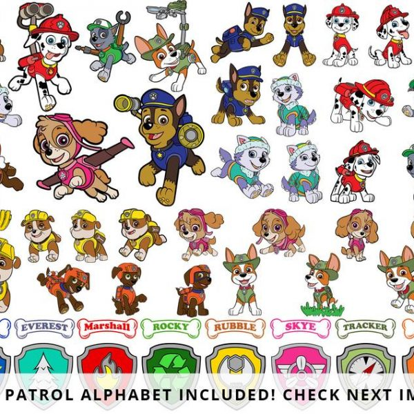 Paw Patrol SVG Layered, Skye Svg, Chase Svg, Everest Svg, Tracker Svg, Rubble Svg, For Cricut, For Silhouette, Clipart, Vinyl, PNG