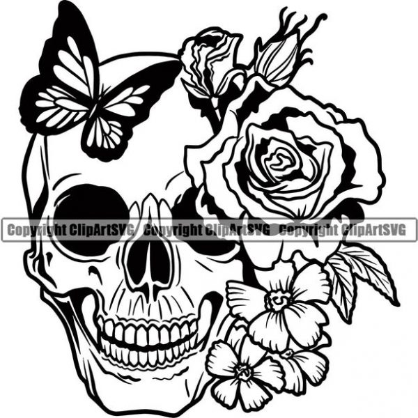 Skull Roses Tattoo Female Woman Design Art Logo SVG PNG Clipart Vector Cut File