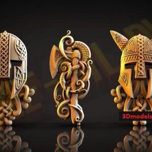 Helmets and Ax in the Ornament 3D STL Models