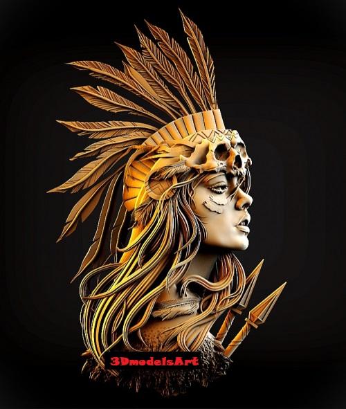 Injun Girl 3D STL Model