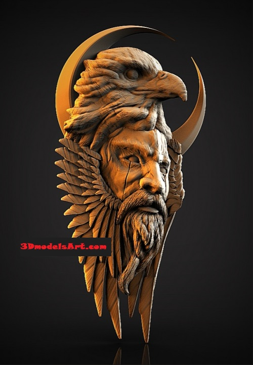 Warrior with an Eagle 3D STL Model for CNC or 3D Printer